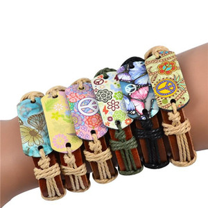 Wholesale Genuine Leather Bracelet Mixed Peace Butterfly Charms Tribe Bracelets Jewelry Fashion Bracelet