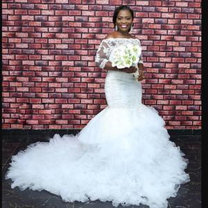 Vestido De Noiva Wedding Dresses Plus Size Black Woman 2021 Bridal Gowns Sexy Lace applique Africa Long Sleeves Mermaid wedding Dress