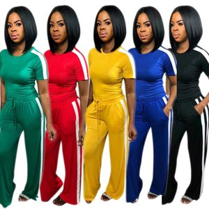 Survêtements pour femmes manches courtes pantalons larges tenues 2 pièces été femmes vêtements jogging costume de sport pull pantalon costume klw0646