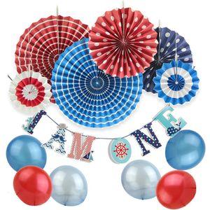 11pcs / 설정 첫 번째 생일 파티 장식 세트 I 건가요 한 배너 / 풍선 / 종이 장미 해상 파티 아기 생일 용품
