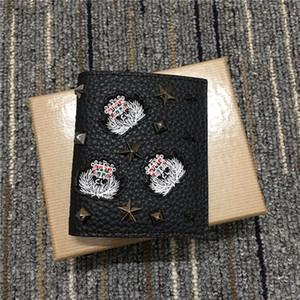 다기능 실 고전적인 아방가르드 ID 클립 우편 신용 카드 소지자 지갑 버클 소 가죽 지갑 평방 짧은 지갑 리벳