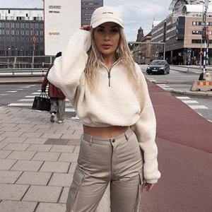 Casual Warm Winter Women Pullover Sweatshirts Ladies Fleece Long Sleeve Thick Knitted Tops Fluffy Stand Collar Zipper Tops