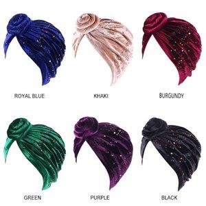 Nouvelle arrivée Velet Fleur perlée Turban Hat femmes Couleur unie Couvre-chef Bonnet Inde musulman Cap Fille Accessoires cheveux