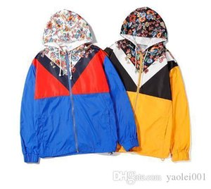 Fashionable mens thin jacket with contrast floral print hooded trench coat digital printing process yellow blue M-XXL
