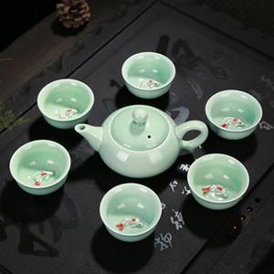Preferred Longquan celadon ceramic tea set, fish cup, kung fu teaset, teapot, gaiwan, Tureen, teacup