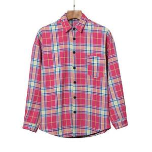 2020er plam icon Hochwertige hohe Auflage Plaid Shirt Palme englischen Alphabets Druck Revers lange Hülse Engel Shirt Herbst S-XL qwdzzX41C #