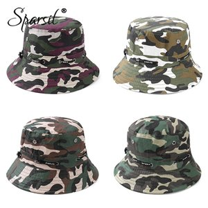 Sparsil Unisex Outdoor Camuflagem Bucket Hat Double-Sided Pesca Wearable Caps Homens Mulheres Sólidos Moda Protetor solar respirável Hat