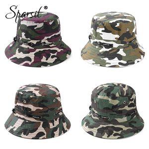 Sparsil unisexe extérieur Camouflage Chapeau de pêche double face Wearable Caps Hommes Femmes Solide crème solaire Fashion respirant Hat