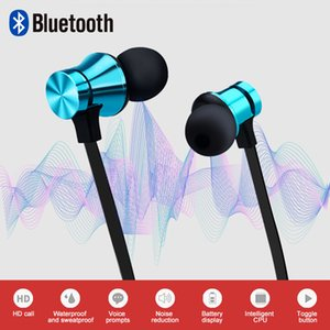 Waterproof Bluetooth V4.2 stereo earbuds Magnetic attraction Bluetooth Earphone Headset Sports Earphone With Mic Charging Cable