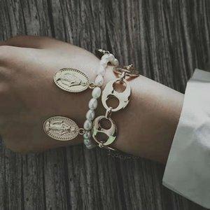 жемчужные браслеты из бисера для женщин роскошный дизайнер Девы Марии подвески кубинский ссылка цепи браслет христианский белый жемчуг jewlery набор любовь подарок