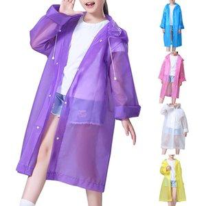 Summer Children's Translucent Raincoat 3-10 Years Kids Girls Hooded Raincoat Waterproof Dust-proof Trench Coat D30