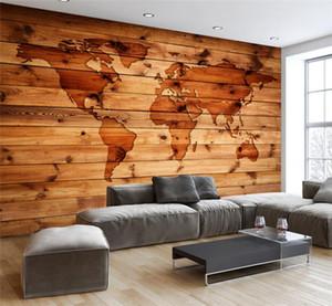 3D مخصص للجدران كونتيننتال ريترو خمر خريطة العالم الخشب الحبوب بار مقهى جدارية جدار خلفية