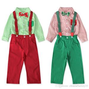Bebek Bebek Noel Giysileri Set Şerit Gömlek Papyon Ile + Askı Pantolon Pantolon Çocuk Kırmızı Yeşil YENİ Yürümeye başlayan çocuk Noel