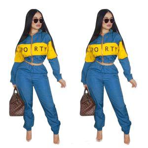 Fatos de treino das mulheres carta impressão Two piece Set Mulheres Inverno Zipper Blusão Jaqueta de Manga Comprida Calças Listradas Esportes Ternos de Roupas