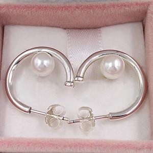 Pendientes del aro auténtica plata de ley 925 Studs contemporáneo perlas, perlas cultivadas de agua dulce se adapta al estilo de Pandora Europea Espárragos joyería 2