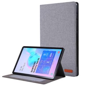 Samsung Galaxy Tab S6 10.5 2019 T860 T865 SM-T860 SM-T865 Tablet için Kart Yuvası ile TPU Arka Kapak Kumaş Kılıf çevirin