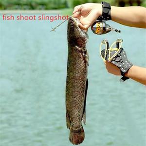 Pesca Slingshot Set caza catapulta traje carrete de pesca + Dart + guardamanos + tubo de goma rueda de pesca al aire libre tiro