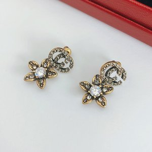 C1959 Do old brass 925 silver needle Occident style earrings inlaid with crystal flowers individual style fashion jewelry