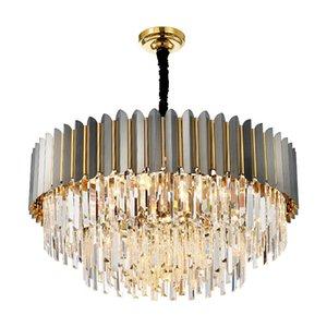 Светодиодные постмодерна хром Золотой нержавеющей стали хрустальная люстра освещение блеск подвесной светильник потолочный для комнаты dinning 90-266V