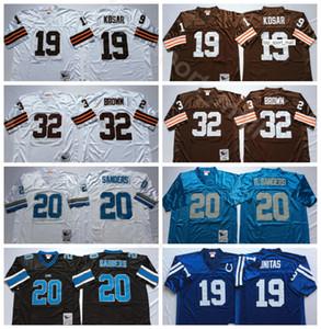 NCAA Football 20 Barry Sanders Jersey 32 Jim Brown 19 Bernie Kosar 19 Johnny Unitas hombre blanco azul de la vendimia Todo cosido Buena