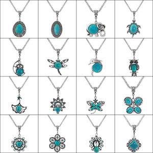 Turquoise Clássico Colar Pingente de Turquois Para Acessórios Mulheres natureza da forma de pedra colar de casamento Moda Jóias 32 Styles