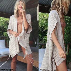 비치 드레스 여름 수영복 패션에서 2019까지 여성 니트 크로 셰 리본 구멍 비키니 하프 슬리브 비치웨어 커버
