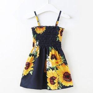 2020 children's skirt ins sling dress-sunflower shoulder strap adjustable