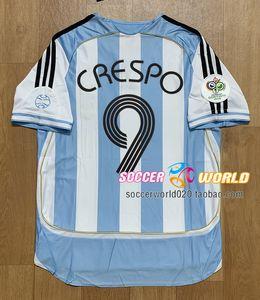 Retro Argentina soccer jersey 2006 Argentina Home messi jerseys MARADONA RIQUELME CRESPO TEVEZ soccer shirts Top qaulity size S-XXL