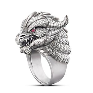 AprilGrass Brand Cruel Dragon Head Men Rings Punk Personality Retro Party Single Ring Gothic Male Ring Jewelry Cool Guy Ring Drop Shipping