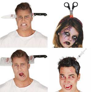Cadılar Bayramı Üç boyutlu Saç Aksesuarları Düzenli Simülasyon Oyuncak Plastik Kafa Bıçaklar Makaslar Cadılar Bayramı Dekorasyon Props4 Stil Halloween Th