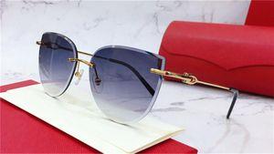 New fashion women sunglasses 0003 Cutting lens charming cat eye frameless metal legs avant-garde design style top quality uv 400 lens