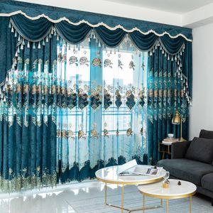 Velvet europeo Bordado Cortinas de dormitorio Chenilla para sala de estar Moderno Tul Tul Cortina Cortina Decorar T200323