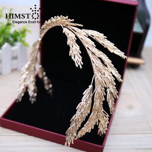 Barok Taçlar Altın Yaprak Kafa Saç Takı Düğün Saç Aksesuarları Prenses Tiara El Yapımı Gelin Başlığı Bantlar Y19061503