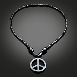 Мода простой кулон черный Магнит ожерелье и знак мира ожерелье для мужчин и женщин бесплатная доставка