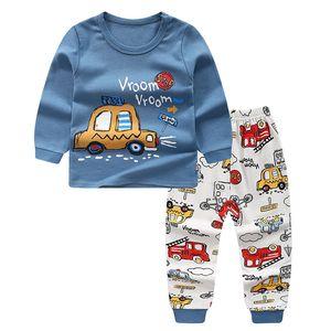 2019 New Autumn Children Boy Girl Pajamas Cartoon Animal Pattern Round Collar Long Sleeve+Long Pants Sleepwear Home Clothing