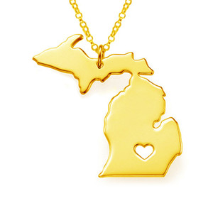 Stainless Steel Michigan Map Charm Pendant Necklaces with a Heart
