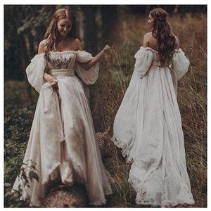 어깨 A 라인 보헤미안 웨딩 드레스의 연인 Appliqued 퍼프 긴 소매 신부 드레스 등이없는 Counrty 웨딩 드레스 끄기