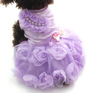 Pet Dog Princess Dress Tutu Rosettebow robes chat chiot jupe printemps / Vêtements Vêtements d'été 2 couleurs
