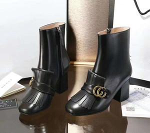 2019 Luxuxfrauen Ankle Boots Schnürer Patent Kalbsleder Stiefel Designer Schuhe Schwarz Cowboy Martin Ankle Booties Echtes Leder mit td1104
