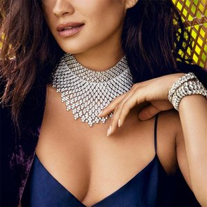 Jewdy Strass Choker Luxury Statement Hochzeit Chocker Big Tassel Halskette Für Frauen Blume Collier 2019 Modeschmuck