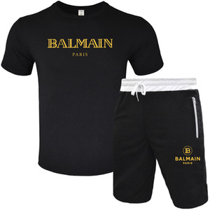 BALMAIN Hombres diseñador de moda chándal Hombre de deporte de verano de manga corta suéter del basculador de los juegos de pantalones O-Cuello Sportsu