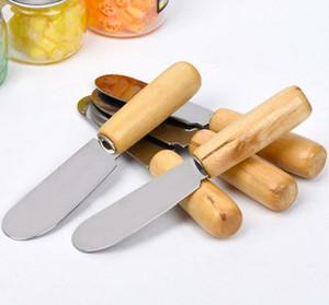 Herramienta cuchillo desayuno por mayor del acero inoxidable cubiertos de mantequilla espátula de madera cuchillo de mantequilla Queso Postre Jam Smear cuchillo portátil para fiestas Viajes