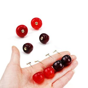 Fashion Cute Simulation Red Cherry Dangle Earrings Romantic Fruit Resin Round Drop Earrings Bohemian Valentines Party Gifts For Women Girl