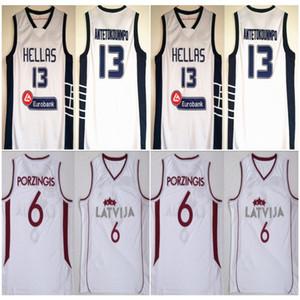 그리스 드웨인 Hellas Giannis 13 Antetokounmpo 유니폼 팀 이탈리아 킨더 볼로냐 마누 6 Ginobili Latvija Kristaps Porzingis 농구 화이트