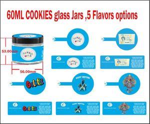 60ml 3.5 Grams Cookies verre Jars Gary Payton céréales Milk London Cake Pound Gelatti haut de gamme Fleur 3.5 Grams d'emballage en verre Jar