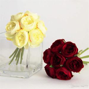Simulation de fleur rose Lulian mis bouquet tenant des fleurs décorant la photographie à la maison accessoires de prise de vue faux fleur de mariage mur de fleurs