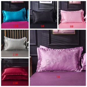 2pcs / комплект Solid Color Silk наволочка Double Face наволочка Лето высокого качество Silk Satin Подушка крышка Постельных принадлежности DBC BH2849