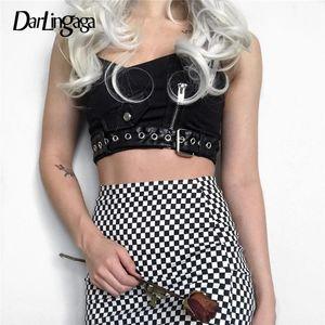 Darlingaga Street Punk PU-Leder-Patchwork Crop Top Frauen Backless Reißverschluss Schnalle Sommer Tops verstellbaren Riemen Sexy Top Cami