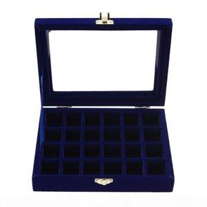 Velvet Jewelry Box 20x15 x 4.5cm Jewelry Tray Holder Storage Organizer 2018 New Arrival 24 Grids Ring Ear Studs Jewelry Box
