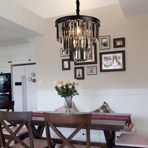 lustres en cristal d'art en fer noir américain vintage chandelier blanc lustre en cristal de lampe de chambre de fer, fumée lampe en cristal gris